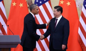 BEIJING, CHINA - NOVEMBER 12:  U.S. President Barack Obama (L) shakes hands with Chinese President Xi Jinping (R) after a joint press conference at the Great Hall of People on November 12, 2014 in Beijing, China.