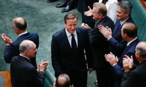 David Cameron enters Australia's parliament before addressing a joint session