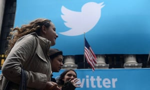 Twitter logo on display at the New York Stock Exchange.