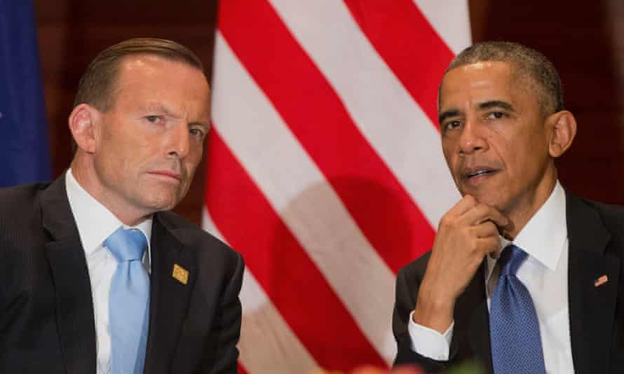 US President Barack Obama and Tony Abbott are at odds over climate change funding
