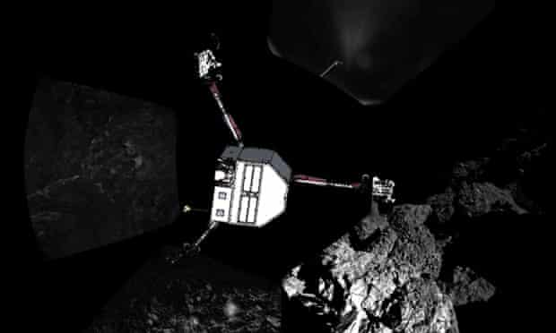 The first panoramic images from the surface of the comet with a sketch of the Philae lander superimposed to show it's assumed orientation.