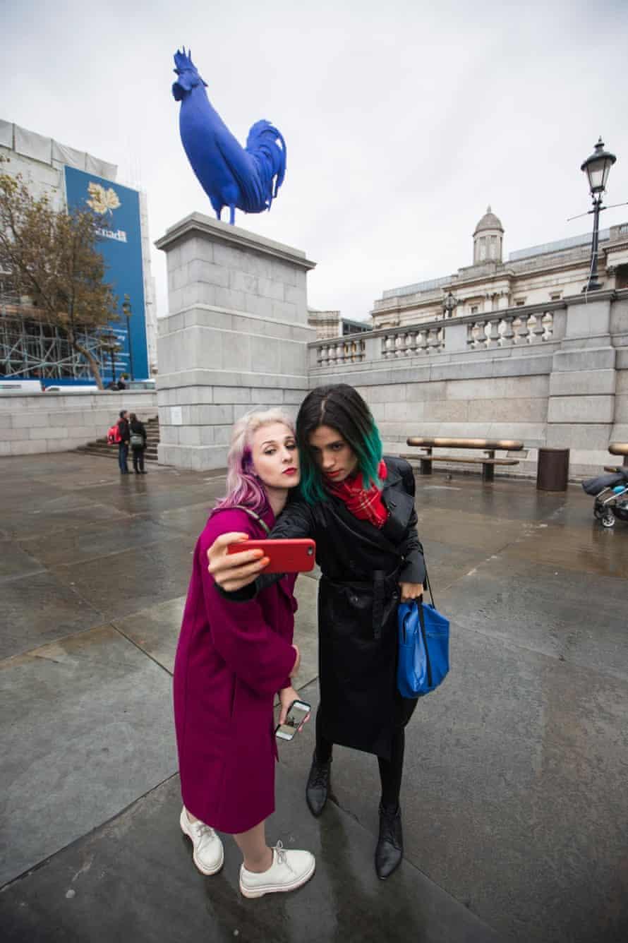 Masha Alyokhina and Nadya Tolokonnikova of Pussy Riot in Trafalgar Square.