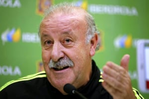 Vicente del Bosque speaks in Madrid before the game with Belarus.