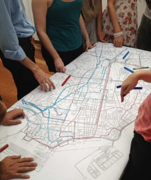 Cyclists gathered together to draw routes they would like to take through the city.