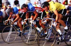 Eddy Planckaet, left, Guido Van Calster, centre, and World Champion and Race Leader Bernard Hinault