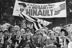 Bernard Hinault's supporters crowd the road's edge of the 68th Tour de France.