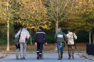 Police animal brigade look for presumed tiger in Montévrain, east of Paris, France