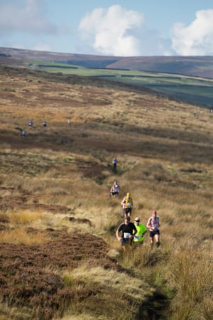 Racers make their way through peat bogs and heather in the Withins Skyline event.