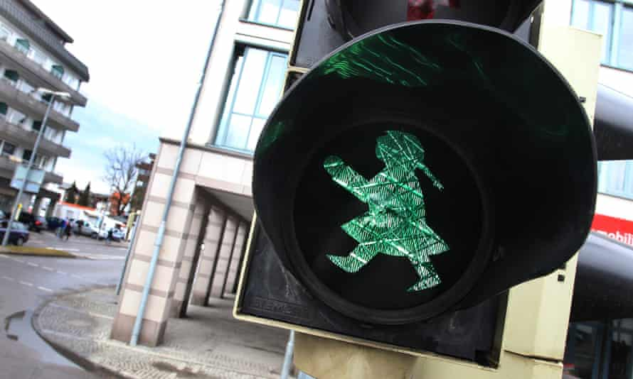 A traffic light, designed as female counterpart to the former east German Ampelmaennchen is seen in Sonthofen