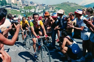 21 Jul 1986, Alpe-d'Huez, France Bernard Hinaultm right, and Greg Lemond, wearing the leader's yellow jersey, climb the Alpe d'Huez mountain pass during stage 18 of the 1986 Tour de France