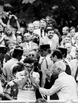 25 July 1982, Paris, France Bernard Hinault looks in disbelief after having just won the 69th Tour de France