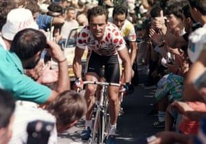 1986 Tour de France Bernard Hinault, wearing the red and white Polka Dot Jersey of the best climber and surrounded by supporters, climbing during the 21th stage of the 73th Tour de France between Saint-Etienne and the Puy-de-Dome