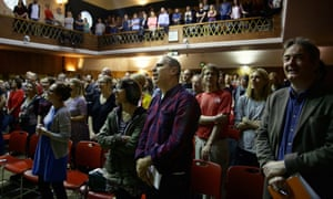 Simon Hattenstone (centre) at the Sunday Assembly.
