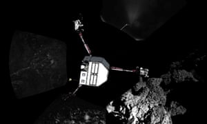 The Philae lander is wedged against a rock and doesn't get enough light to charge its batteries.