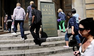 Congregation gathers at All Souls Church, Langham Place, London