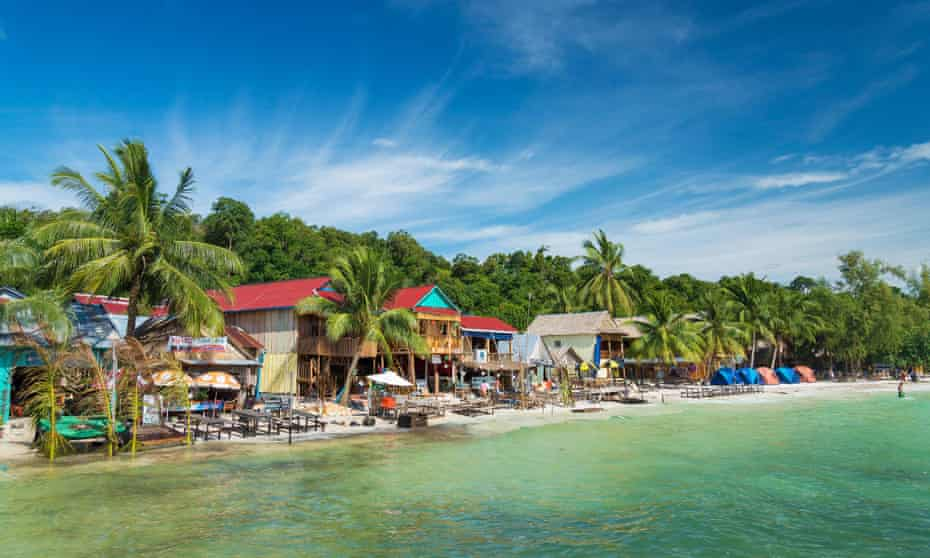 Beach bars on Koh Rong, Cambodia.