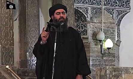 Video still of Isis leader Abu Bakr al-Baghdadi at a mosque in Mosul, Iraq