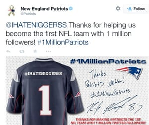 c79b961cd4c New England Patriots run into Twitter trouble with tweet to racist ...