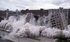 Pruitt-Igoe housing project being demolished with explosives in St Louis, Missouri, on 21 April.