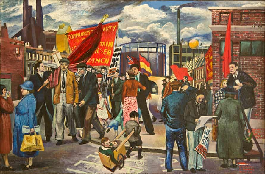 Demonstration in Battersea, 1939 by Clive Branson, dedicated to Comrade E Marney: 'a parade of hungry volunteers… sometimes shirtless, often ill, but always wearing their brigade badges or caps'.