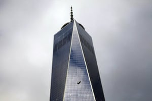 Stranded window cleaners hang on the side of One World Trade Center in New York. Firefighters rescued the two cleaners after they had been trapped for two hours, dangling outside the 69th floor of the recently completed skyscraper.