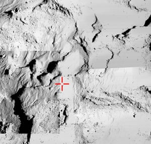 This final photograph, from the European Space Agency, shows a montage of Osiris narrow-angle images taken from the Rosetta mothership and being used to try to identify the final touchdown point of the Philae lander. The images were taken when Rosetta was about 18km from the centre of Comet 67P/Churyumov-Gerasimenko.
