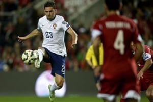 Portugal's forward Helder Postiga plying his trade.