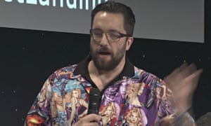 c9a35d91e Scientist Dr Matt Taylor in the controversial shirt as he reports on the  progress of the Rosetta mission. Photograph: AP