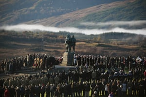 At Spean Bridge commando memorial in Scotland, serving and former commandos pay respects to members of the armed forces who fought in the two world wars and more recent conflicts.