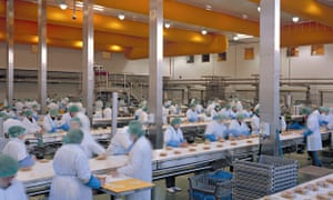 Sandwich production at Greencore's factory. The company turns over £25m a week supplying M&S, Waitro