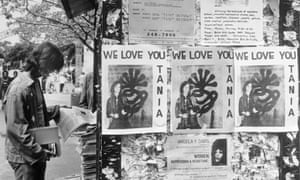 15 April 1974: Posters reading 'We Love You Tania' appear on bulletin boards at the University of California campus with a picture of Patty Hearst holding a machine gun. The 20-year-old daughter of Randolph Hearst, president and editor of the San Francisco Examiner, was a student at the university. She was identified by the FBI as one of four armed women who took part in the robbery of a San Francisco bank, although it was not determined if she did so of her own free will
