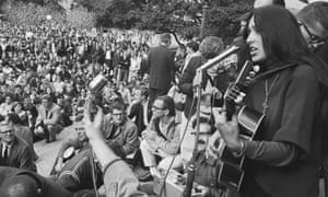 2 December 1964: Folk singer Joan Baez performs at a freedom rally in front of Sproul Hall at the University of California, Berkeley
