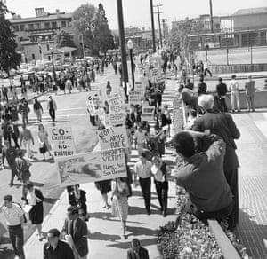 23 March 1962: At the University of California, Berkeley, student members of the ad hoc committee carry signs protesting against President Kennedy's policies and actions. The march went up Bancroft Street from the Student Union building to Memorial Stadium during the Charter Day ceremonies being attended by the president