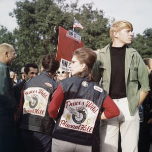 21 November 1965: Members of a motorcycle gang arrive to try to stop an anti-war protest in Berkeley