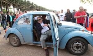 José Mujica in his Volkswagen beetle.