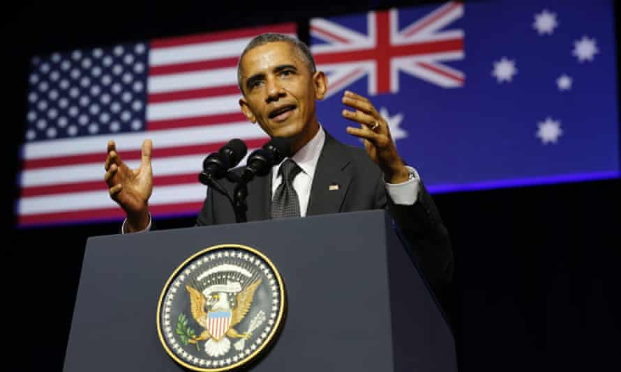 Barack Obama speaks at the University of Queensland in Brisbane.