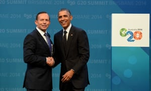 Australian Prime minister Tony Abbott (left) greets US President Barack Obama during the official welcome at the Brisbane Convention and Exhibitions Centre (BCEC) in Brisbane, Saturday, (AAP Image/Lukas Coch)