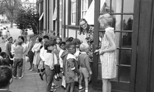 11 September 1968: Elizabeth Room welcomes the integrated group of kindergarten students at John Muir elementary school, in an all-white Berkeley neighbourhood, as full integration of schools gets under way