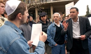 9 April 2002: Pro-Palestinian demonstrator Amin Miraftab argues with pro-Israeli demonstrator Alexander Bilinskey during a protest at University of California, Berkeley