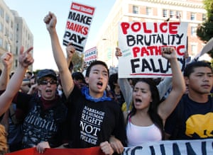 15 November 2011: Occupy California protesters march on the streets of Berkeley as part of a campus-wide strike to shut down the University of California