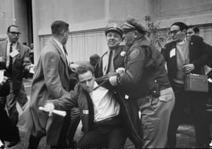 8 December 1964: Student protester Mario Savio is arrested by two police officers during a riot at a Free Speech Movement demonstration on campus at University of California, Berkeley