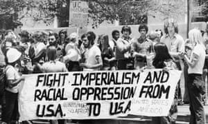 8 July 1977: A group of students from the University Of California, Berkeley, demonstrate to call for an end to all financial and political support for South Africa and Rhodesia which are accused of violating human rights through oppression and racism