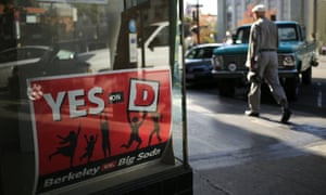 3 November 2014: A sign for the 'Yes on D' campaign hangs in the window of the Measure D election headquarters in Berkeley. No US city has passed a measure raising taxes on sugary drinks, and ahead of election day in San Francisco and Berkeley, the soda industry has been working hard to keep it that way