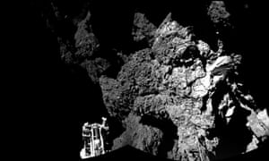 This combination photo of different images taken with Philae's CIVA camera system shows Rosetta's lander on the surface of Comet 67P/Churyumov-Gerasimenko.