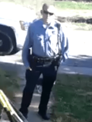 A still from Mike Arman's video of Darren Wilson.