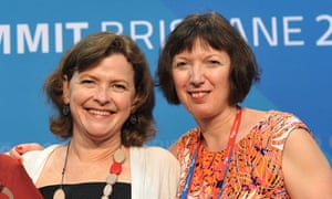 Frances O'Grady, right, with the president of the Australian Council of Trade Unions, Ged Kearney, at the summit.