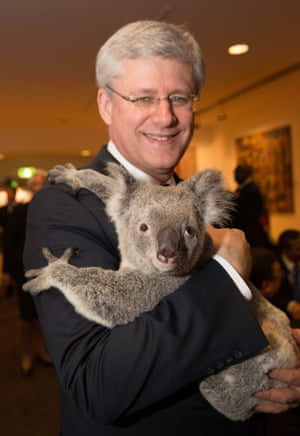 Canada's Prime Minister Stephen Harper with Jimbelung.