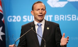 Australia's Prime Minister Tony Abbott speaks to the media during a press conference at the conclusion of the G-20 summit in Brisbane, Australia, Sunday, Nov. 16, 2014.(AP Photo/Rob Griffith)