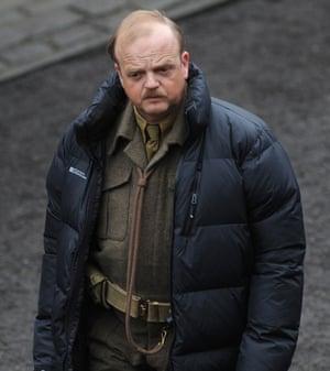 Toby Jones who plays Captain Mainwaring.