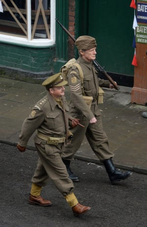 Toby Jones (left) who plays Captain Mainwaring and Bill Nighy (right) who plays Sergeant Wilson.